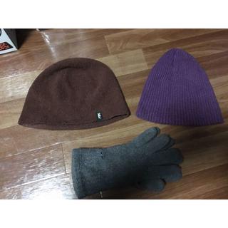 スタイラス(StilLas)のニットキャップ パイル地キャップと無印良品手袋セット(ニット帽/ビーニー)