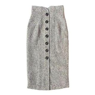 フロントボタン ツイード風 ペンシルスカート Mサイズ(ひざ丈スカート)