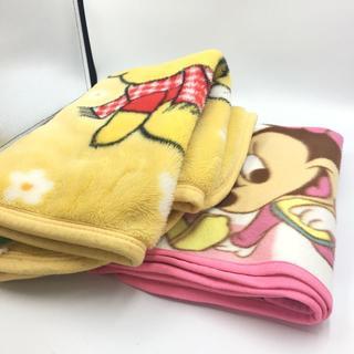 ディズニー(Disney)のディズニー 毛布 くまの プーさん  ミッキー ミニー 2枚 黄色 ピンク(毛布)