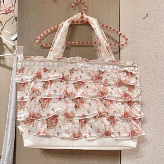 リズリサ(LIZ LISA)のLIZLISA*花柄薔薇柄パワネレースフリル♡大容量トートバッグ♡(トートバッグ)