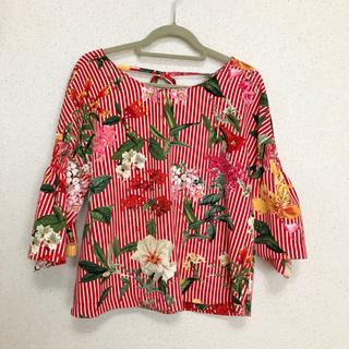 52490a249b175 ザラ ストライプシャツ シャツ/ブラウス(レディース/長袖)(レッド/赤色 ...