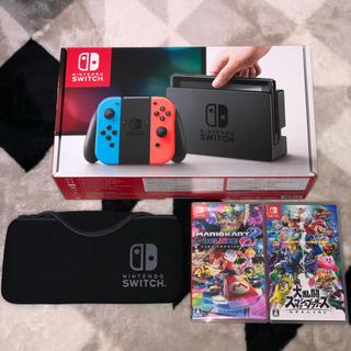 ニンテンドースイッチ(Nintendo Switch)の★Nintendo Switch本体 ★人気ソフトと本体ケースのセット(家庭用ゲーム本体)