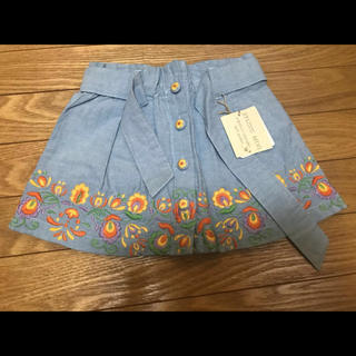 スタジオミニ(STUDIO MINI)の【新品】Studiomini 子供服 女の子 95 デニムスカート 刺繍 花柄(スカート)