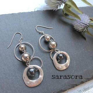 427 silver hoop× black pearl earrings(ピアス)