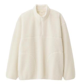 ジーユー(GU)のGU シープボアフリースハーフジッププルオーバー(長袖)👕メンズS(Tシャツ/カットソー(七分/長袖))