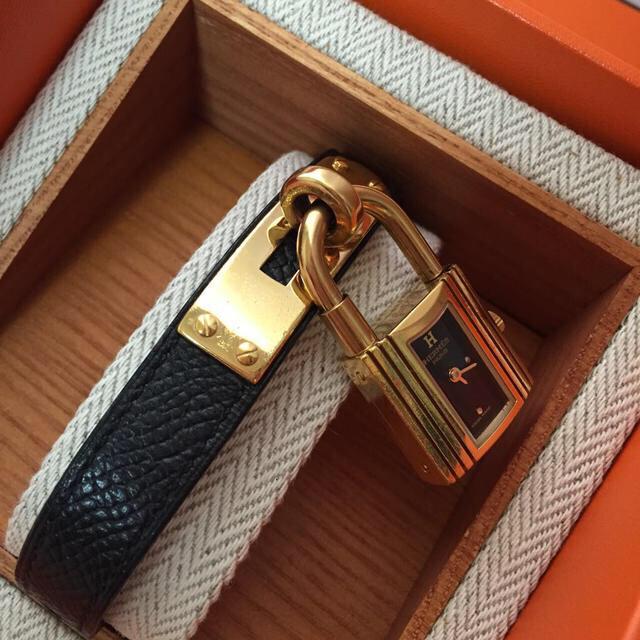 the latest 63567 3bfcc エルメスケリーウォッチ 黒×ゴールド時計