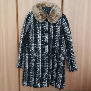 ジーユー(GU)のGU GIRLS ツイード調ファー襟コート130(コート)