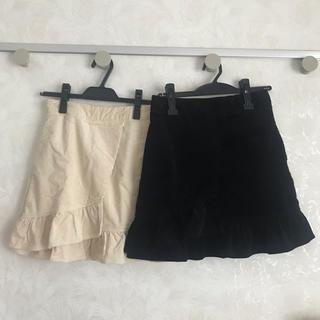 ローリーズファーム(LOWRYS FARM)のローリーズファーム  コーデュロイ フリル 裾 スカート アイボリー 春(ミニスカート)
