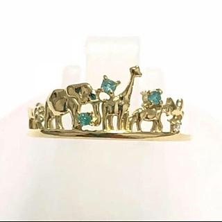 新品 k18 パライバトルマリン ダイヤモンド 動物 リング 指輪動物大集合(リング(指輪))