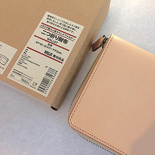 ムジルシリョウヒン(MUJI (無印良品))の【新品】MUJI イタリア産ヌメ革ラウンドファスナー二つ折り財布(財布)