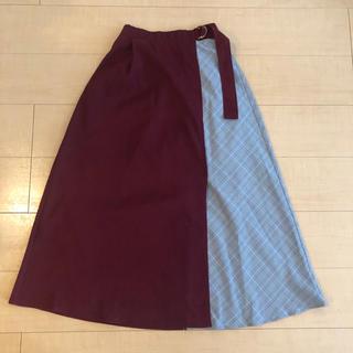 バイバイ(ByeBye)の試着のみ ByeBye チェックボルドー切り替えラップ風スカート(ロングスカート)