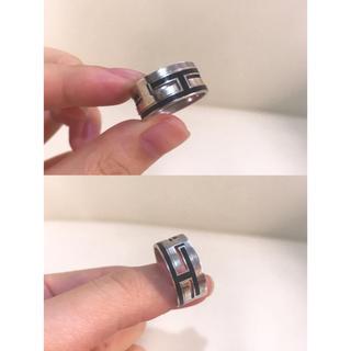 エルメス(Hermes)のエルメス  ムーブアッシュリング 黒 シルバー #57 16-17号 メンズ(リング(指輪))