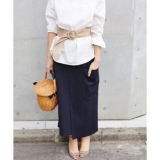 イエナ(IENA)のIENA ビッグポケットアシンメトリースカート ネイビー36(ロングスカート)