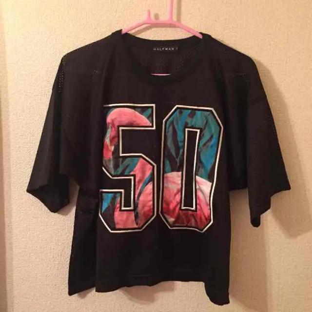 HALFMAN(ハーフマン)のHALFMAN mesh numbering shirt レディースのトップス(Tシャツ(半袖/袖なし))の商品写真