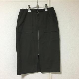 ジーユー(GU)のGU フロントジップスカート カーキXL(ひざ丈スカート)
