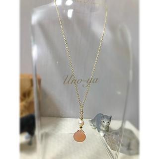 オレンジムーンストーンの一粒ネックレス(ネックレス)