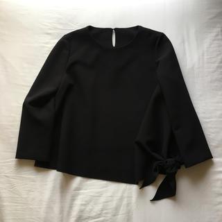 ピッチン(PICCIN)のpiccin ピッチン 2way ヘム ブラウス プルオーバー リボン 黒 L(シャツ/ブラウス(長袖/七分))