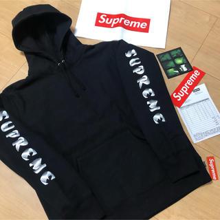 シュプリーム(Supreme)のsupreme  袖ロゴ パーカー L 18aw 黒 シュプリーム(パーカー)