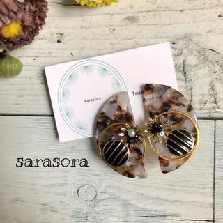 383 marble  half moon×flower earrings(ピアス)