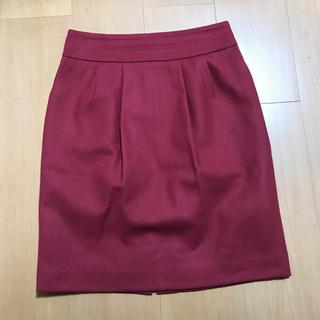 日本製ウール100%スカート ピンク(ひざ丈スカート)