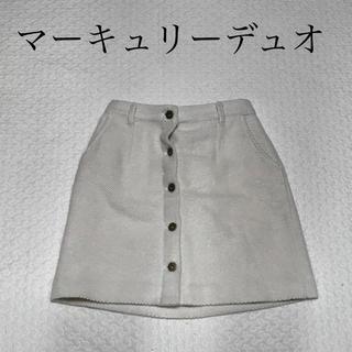 マーキュリーデュオ(MERCURYDUO)の【未使用】マーキュリーデュオ  コーデュロイスカート ホワイト(ミニスカート)