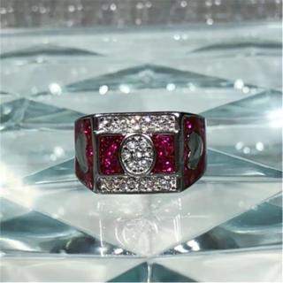1点物 AAAランク ダイヤモンドcz ハート 21号 リング 指輪(リング(指輪))