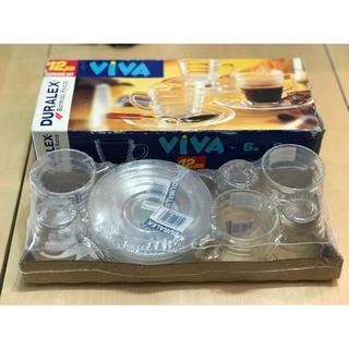 デュラレックス(DURALEX)の【新品】Duralex viva エスプレッソカップ&ソーサー 6Pセット(グラス/カップ)