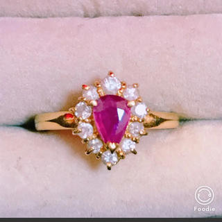 本物ジュエリーK18 ダイヤモンド,ルビー リング YG(リング(指輪))