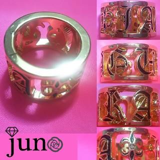 ジャグラ ロゴ 百合 ラインストーン リング 指輪 黒 ゴールド(リング(指輪))