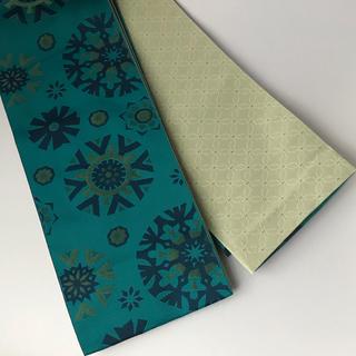 新品 浴衣帯 青緑色地に濃緑の花火柄 袴下帯 リメイクにも(浴衣帯)