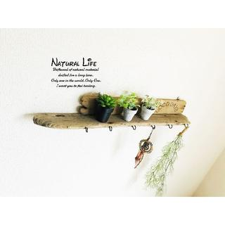 流木板⁎✧✧お洒落な組み合わせ 壁掛けウォールラック◇6連フック◇シェルフ◇棚(家具)