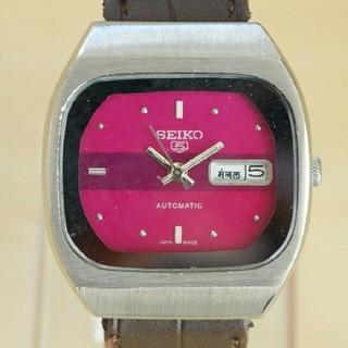 セイコー(SEIKO)の★ビンテージ seiko5 機械式腕時計 ピンク★ セイコー5自動巻き(腕時計(アナログ))