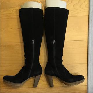 ナノユニバース(nano・universe)のナノユニバース ロングブーツ スウェード 黒 サイズ 38(24.5cm)(ブーツ)