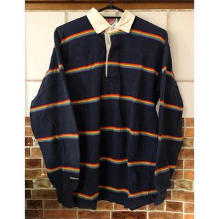 バーバリアン(Barbarian)のラガーシャツ カラフル レインボー ポロシャツ ビッグサイズ 虹 古着 used(ポロシャツ)