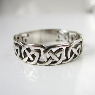 インディアンジュエリー リング 純銀製 シルバー925 チェーン柄 ビンテージ(リング(指輪))