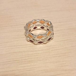 赤系ひし形ダブルリング 新品未使用(リング(指輪))