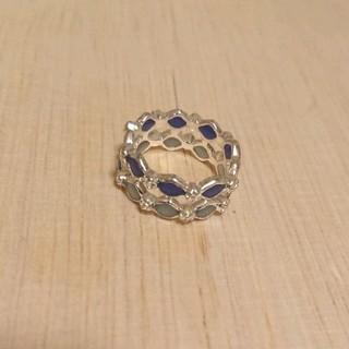 ブルーダブルひし形モチーフリング 新品未使用(リング(指輪))
