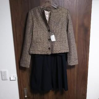 ジーユー(GU)の新品 ノーカラーツイードジャケット  数回着用ワンピース フォーマルスーツ(スーツ)