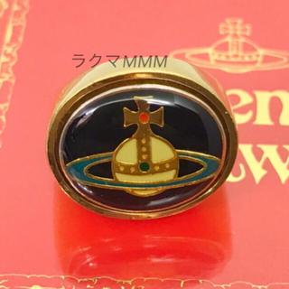 ヴィヴィアンウエストウッド(Vivienne Westwood)のエナメルオーブ リング/ゴールド×ブラック(リング(指輪))