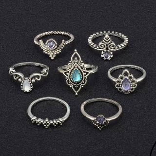 ビンテージ 指輪 7個セット シルバーカラー 大きめサイズ 新品(リング(指輪))