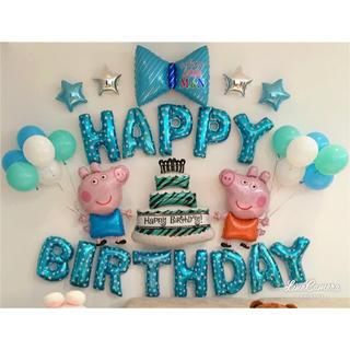 誕生日 バルーン ペッパピッグ 豚 リボン ケーキ peppapig ブルー (モビール)