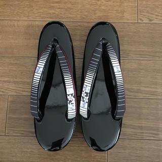 草履 黒 ブラック シック モノトーン(下駄/草履)