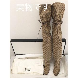 グッチ(Gucci)の【新品未使用】GUCCI オーバーザニーブーツ(ブーツ)