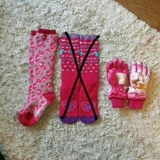 ディズニー(Disney)のスキー 靴下 手袋 ピンク 16-18cm(ウエア)