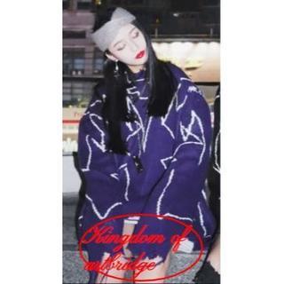 kdab 19AW 紫 パープル 白 セーター 韓国 メンズ レディース スト系(ニット/セーター)