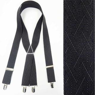 日本縫製 35mm ゲバルト サスペンダー ベルギーゴム 籠目 黒(サスペンダー)