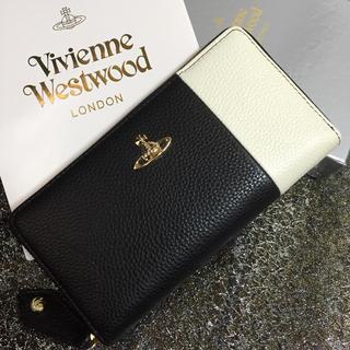 ヴィヴィアンウエストウッド(Vivienne Westwood)の♡ヴィヴィアンウエストウッド♡ファスナー♡長財布♡ブラック&ホワイト♡新品♡(財布)