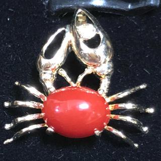 Original - カニの珊瑚の甲羅 爪にはダイヤ 14金 ペンダント トップ