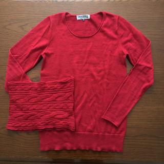 アツロウタヤマ(ATSURO TAYAMA)の《ご商談中》サイズ38 ネックウォーマー付きセーター 赤(ニット/セーター)