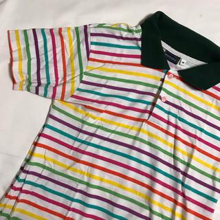ウィゴー(WEGO)のレトロ レインボー ボーダー ポロシャツ(ポロシャツ)